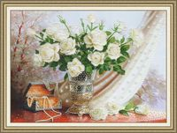 "Вышивка бисером ""Белые розы"" (360х500 мм)"
