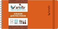 """Альбом для рисунков """"Artefly"""" (210х105 мм; твердая оранжевая обложка)"""