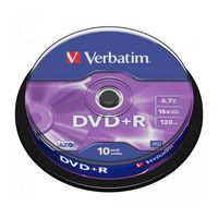 Диск DVD+R 4.7Gb 16x Verbatim CakeBox 10