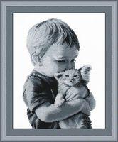 """Вышивка крестом """"Малыш с котенком"""" (200x280 мм)"""