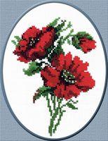 """Вышивка крестом """"Красные цветочки"""" (150x210 мм)"""