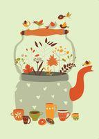 """Открытка """"Осеннее чаепитие"""""""