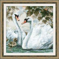 "Вышивка крестом ""Белые лебеди"" (250х250 мм)"