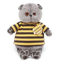 """Мягкая игрушка """"Басик в полосатой футболке с пчелой"""" (22 см)"""