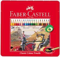 """Цветные карандаши Faber-Castell """"РЫЦАРЬ"""" в металлической коробке (24 цвета)"""