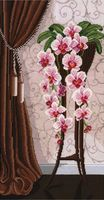 """Вышивка крестом """"Ваза с орхидеями"""" (290x500 мм)"""