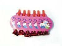 Свистки для вечеринки (6 шт., розовые)