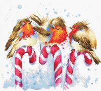 """Вышивка крестом """"Рождественские птицы"""" (235х205 мм)"""