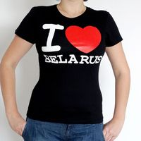 """Футболка женская """"I love Belarus"""" (M; черная)"""