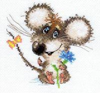 """Вышивка крестом """"Влюбленный мышонок"""" (130х120 мм)"""