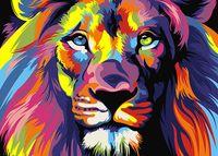 "Картина по номерам ""Радужный лев"" (210х297 мм)"