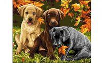 """Картина по номерам """"Три щенка"""" (400x500 мм)"""