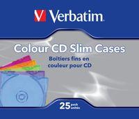 Коробочки для 1 CD Verbatim slim цветные (целлофанированы по 25 штук)