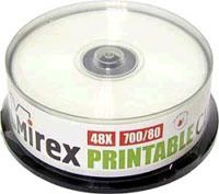 Диск CD-R 700Mb 48x Mirex Printable CakeBox 25