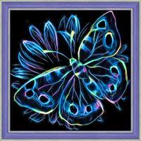 """Алмазная вышивка-мозаика """"Неоновая бабочка"""" (250х250 мм)"""
