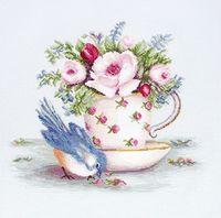 "Вышивка крестом ""Птичка и чашка чая"" (275х235 мм)"