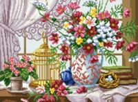 """Канва с нанесенным рисунком """"Цветы"""" (арт. А-1395)"""