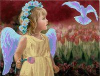 """Канва с нанесенным рисунком """"Ангелок с тюльпаном"""""""