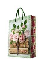 """Пакет бумажный подарочный """"Книги и розы"""" (26х32,4х12,7 см; арт. 44197)"""