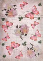 """Бумага для декупажа рисовая """"Бабочки и пионы на рукописном фоне"""" (210х300 мм)"""
