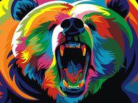 """Картина по номерам """"Радужный медведь"""" (210х297 мм)"""