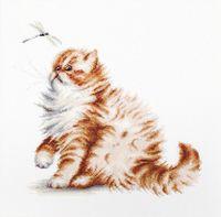 "Вышивка крестом ""Кошка со стрекозой"" (225х220 мм)"