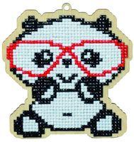 """Алмазная вышивка-мозаика """"Брелок. Панда в очках"""" (106х112 мм)"""