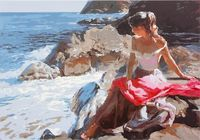 "Картина по номерам ""Девушка у моря"" (400х500 мм)"