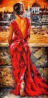 """Алмазная вышивка-мозаика """"Девушка в вечернем платье"""" (400х800 мм)"""