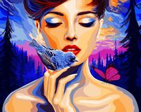 "Картина по номерам ""Девушка и птица"" (400х500 мм)"