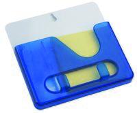 Подставка под ручки с бумажным блоком и крючками для ключей (синяя)