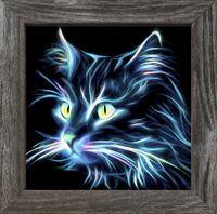"""Алмазная вышивка-мозаика """"Неоновый кот"""" (250х250 мм)"""