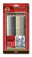 """Набор карандашей цветных """"Polycolor"""" (12 цветов; серые оттенки)"""