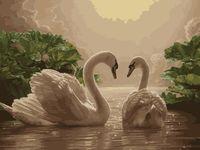 "Картина по номерам ""Пара лебедей"" (400х500 мм)"