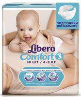 """Подгузники для детей Libero Comfort """"Midi 3"""" (4-9 кг, 90 шт)"""
