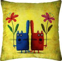 "Подушка ""Два кота"" (35x35 см; жёлтая)"