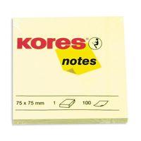"""Бумага для записей на клейкой основе """"Kores"""" (желтая; 75 x 75 мм; 100 листов)"""