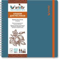 """Альбом для рисунков """"Artefly"""" (210х210 мм; твердая голубая обложка)"""