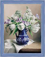 """Алмазная вышивка-мозаика """"Белые тюльпаны"""" (300х400 мм)"""