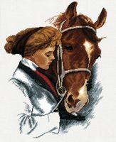 """Вышивка крестом """"Девушка с лошадью"""" (270x360 мм)"""