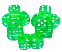 """Набор кубиков D6 """"Прозрачный"""" (12 мм; 12 шт.; зеленый)"""