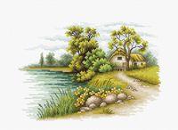 """Вышивка крестом """"Пейзаж с озером"""" (200х140 мм)"""