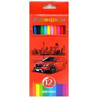 """Цветные карандаши """"Красная энергия"""" в картонной коробке (12 цветов)"""