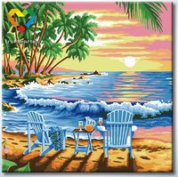 """Картина по номерам """"Закат на острове"""" (250х250 мм; арт. HB2525001)"""