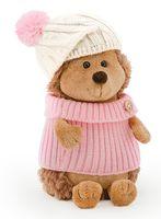 """Мягкая игрушка """"Ежинка Колючка в шапке с розовым помпоном"""" (15 см)"""