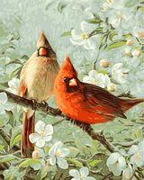 "Картина по номерам ""Кардиналы и вишневый цвет"" (510х410 мм; арт. PLD-21737)"