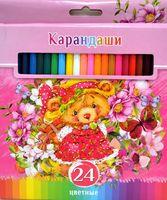 """Цветные карандаши """"Забавные пушистики"""" в картонной коробке (24 цвета)"""