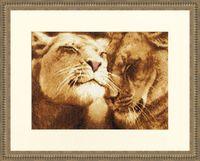 """Вышивка крестом """"Влюбленные львы"""" (200х305 мм)"""