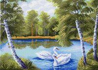 """Канва с нанесенным рисунком """"Тихая заводь"""" (арт. 923)"""