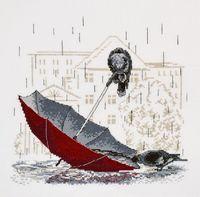 """Вышивка крестом """"Грустный зонтик"""""""